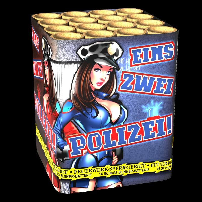 Eins Zwei Polizei Batteriefeuerwerk von Lesli Feuerwerk/Firework - Feuerwerk online kaufen im Pyrographics Feuerwerkshop