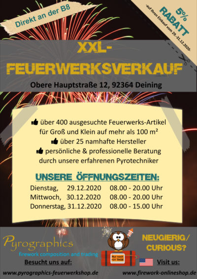 Pyrographics Feuerwerk Silvesterverkauf vom Profi/ Fachhandel für Feuerwerk